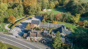 Plough Inn hotel, restaurant, pub aerial view