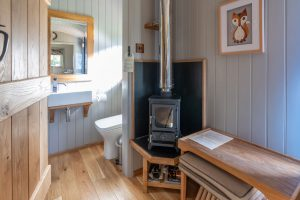 Shepherd Huts self catering accommodation Hathersage Derbyshire Peak District - log burner