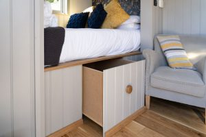 Shepherd Huts self catering accommodation Hathersage Derbyshire Peak District - bed